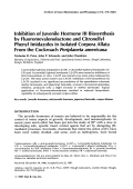 Inhibition of juvenile hormone III biosynthesis by fluoromevalonolactone and citronellyl phenyl imidazoles in isolated corpora allata from the cockroach Periplaneta americana.