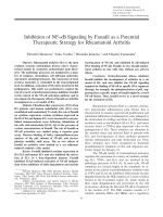 Inhibition of NF-╨Ю╤ФB signaling by fasudil as a potential therapeutic strategy for rheumatoid arthritis.