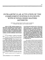 Intraarticular activation of the complement system in patients with juvenile rheumatoid arthritis.