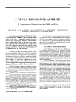 Juvenile rheumatoid arthritis a comparison of patients from the ussr and usa.
