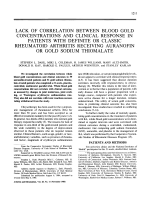 Lack of correlation between blood gold concentrations and clinical response in patients with definite or classic rheumatoid arthritis receiving auranofin or gold sodium thiomalate.