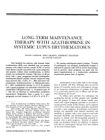 Long-term maintenance therapy with azathioprine in systemic lupus erythematosus.