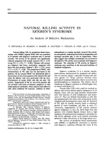 Natural killing activity in sjgren's syndrome.