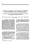 Studies of immune functions of patients with systemic lupus erythematosus.