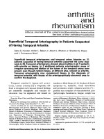 Superficial temporal arteriography in patients suspected of having temporal arteritis.