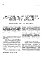 Synthesis by an Established Lymphocyte Cell Line From a Rheumatoid Synovium.