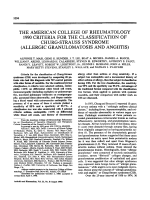 The American College of Rheumatology 1990 criteria for the classification of churg-strauss syndrome allergic granulomatosis and angiitis.