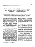 The American College of Rheumatology 1990 criteria for the classification of wegener's granulomatosis.