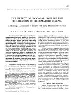 The effect of synovial iron on the progression of rheumatoid disease.