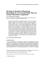 The role of alcohols in pheromone biosynthesis by two noctuid moths that use acetate pheromone components.
