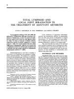 Total lymphoid and local joint irradiation in the treatment of adjuvant arthritis.