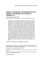 Uptake of cholesterol and cholestanol by the intestine  hemolymph  and fat body of Heliothis zea.
