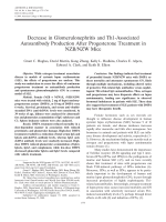Decrease in glomerulonephritis and Th1-associated autoantibody production after progesterone treatment in NZBNZW mice.