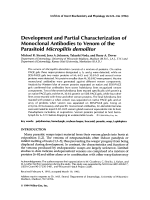 Development and partial characterization of monoclonal antibodies to venom of the parasitoid microplitis demolitor.