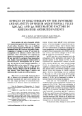 Effects of gold therapy on the synthesis and quantity of serum and synovial fluid IgM IgG and IgA rheumatoid factors in rheumatoid arthritis patients.