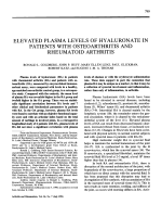 Elevated plasma levels of hyaluronate in patients with osteoarthritis and rheumatoid arthritis.