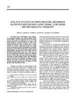 Folate status of rheumatoid arthritis patients receiving long-term low-dose methotrexate therapy.