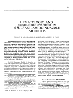 Hematologic and serologic studies in 6-sulfanilamidoindazole arthritis.