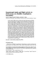 Hemolymph lipids and flight activity in Helicoverpa zea Boddie lepidopteraNoctuidae.