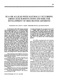 Hla-dr alleles with naturally occurring amino acid substitutions and risk for development of rheumatoid arthritis.