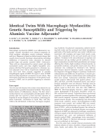 Identical twins with macrophagic myofasciitisGenetic susceptibility and triggering by aluminic vaccine adjuvants.