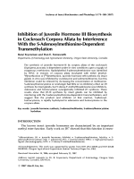 Inhibition of juvenile hormone III biosynthesis in cockroach corpora allata by interference with the S-adenosylmethionine-dependent transmethylation.