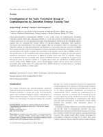 Investigation of the Toxic Functional Group of Cephalosporins by Zebrafish Embryo Toxicity Test.