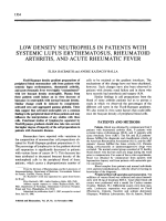 Low density neutrophils in patients with systemic lupus erythematosus rheumatoid arthritis and acute rheumatic fever.