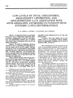 Low levels of total cholesterol high-density lipoprotein and apolipoprotein a1 in association with anticardiolipin antibodies in patients with systemic lupus erythematosus.