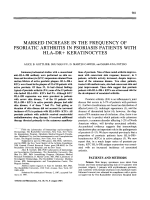Marked increase in the frequency of psoriatic arthritis in psoriasis patients with hladr+ keratinocytes.