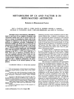Metabolism of c4 and factor b in rheumatoid arthritis.