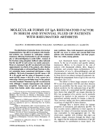 Molecular forms of IgA rheumatoid factor in serum and synovial fluid of patients with rheumatoid arthritis.