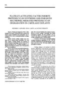 Platelet-activating factor inhibits proteoglycan synthesis and enhances neutrophil-mediated proteoglycan degradation in cartilage explants.