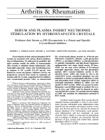 Serum and plasma inhibit neutrophil stimulation by hydroxyapatite crystals. evidence that serum ╨Ю┬▒l2-hs glycoprotein is a potent and specific crystal-bound inhibitor