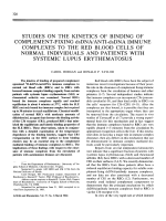Studies on the kinetics of binding of complement-fixing dsdnaanti-dsdna immune complexes to the red blood cells of normal individuals and patients with systemic lupus erythematosus.