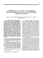 Suppression of acute and chronic inflammation by orally administered prostaglandins.