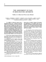 The assessment of pain in rheumatoid arthritis.