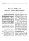 The latex test revisited. Rheumatoid factor testing in 8287 rheumatic disease patients