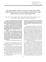 The rheumatoid arthritisassociated allele HLADR10 DRB1.23503.pdf1001 shares part of its repertoire with HLADR1 DRB10101 and HLADR4 DRB0401