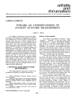 Toward an Understanding of Patient Outcome Measurement.