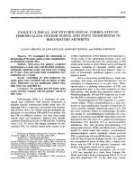 Unique clinical and psychological correlates of fibromyalgia tender points and joint tenderness in rheumatoid arthritis.