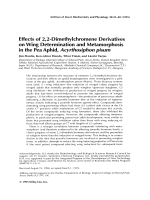 Effects of 2 2-dimethylchromene derivatives on wing determination and metamorphosis in the pea aphid  Acyrthosiphon pisum.