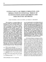 Extravascular fibrin formation and dissolution in synovial tissue of patients with osteoarthritis and rheumatoid arthritis.