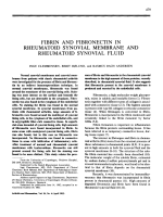 Fibrin and fibronectin in rheumatoid synovial membrane and rheumatoid synovial fluid.
