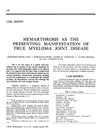 Hemarthrosis as the presenting manifestation of true myeloma joint disease.