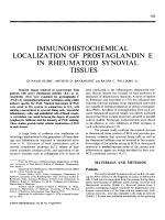 Immunohistochemical localization of prostaglandin e in rheumatoid synovial tissues.