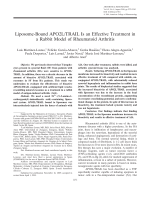 Liposome-bound APO2LTRAIL is an effective treatment in a rabbit model of rheumatoid arthritis.