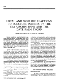 Local and Systemic Reactions to Puncture Injuries by the Sea Urchin Spine and the Date Palm Thorn.