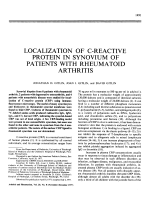 Localization of C-reactive protein in synovium of patients with rheumatoid arthritis.