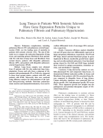 Lung tissues in patients with systemic sclerosis have gene expression patterns unique to pulmonary fibrosis and pulmonary hypertension.